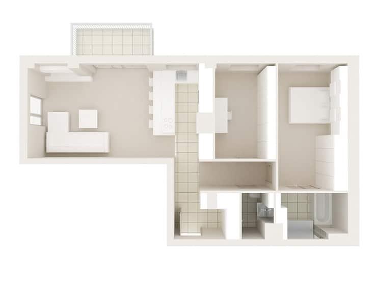 Plan mieszkania Joanny i Krzysztofa, proj. KAEEL.GROUP Architekci
