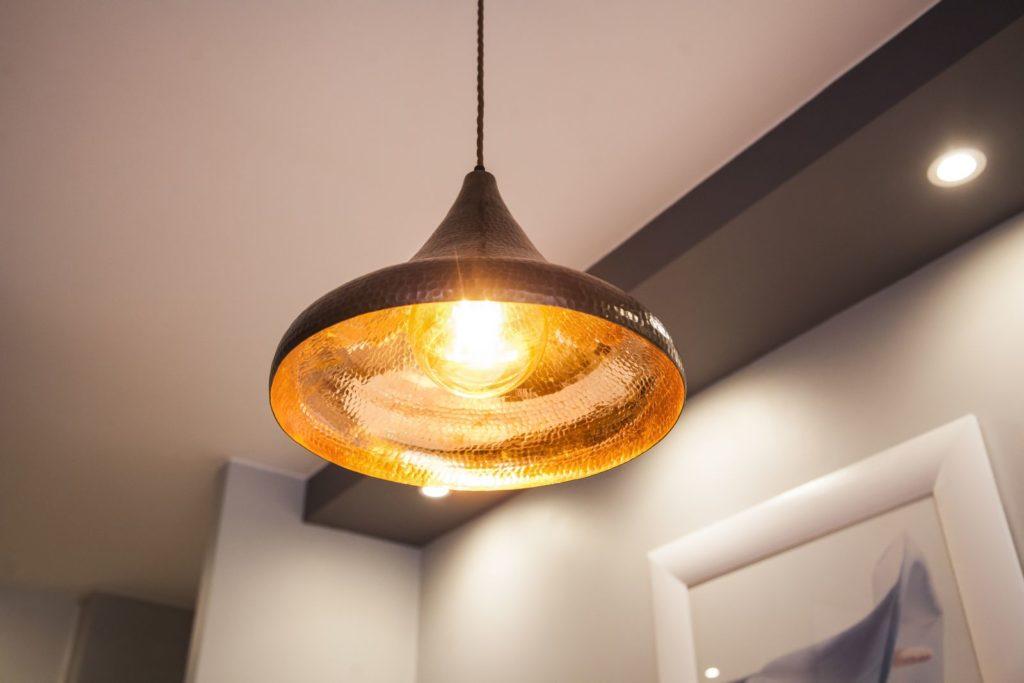 Lampa miedziana wiszaca - sufitowa lampa z ręcznie kutej miedzi 03