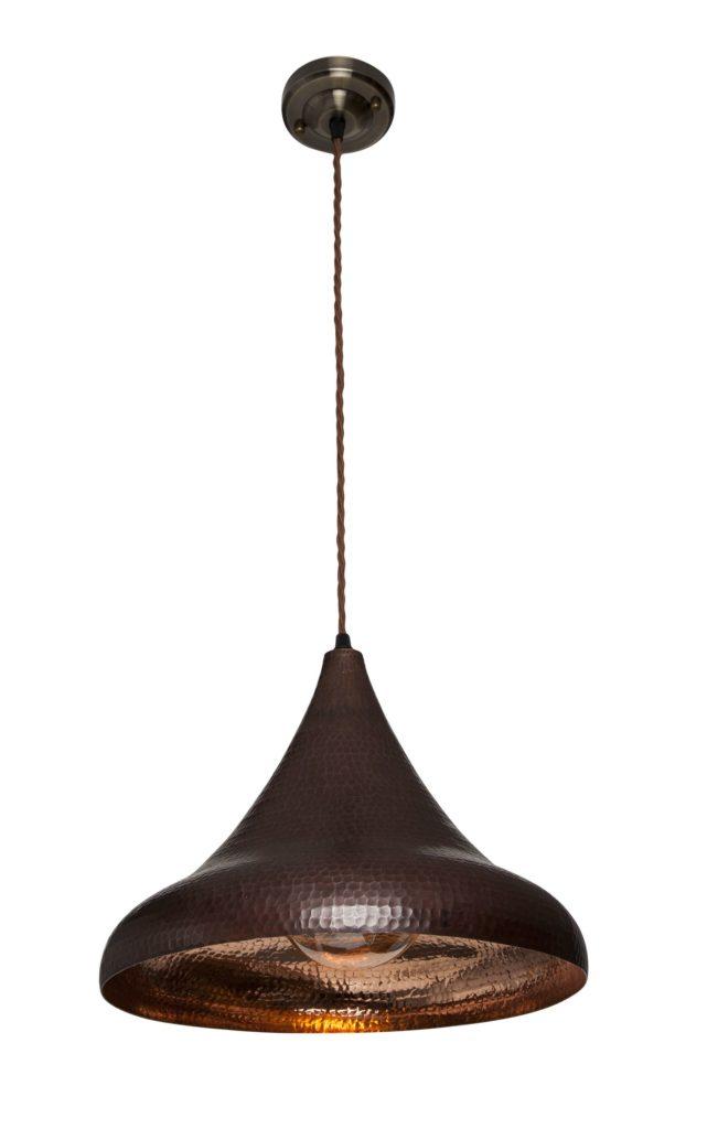 Lampa miedziana wiszaca - sufitowa lampa z ręcznie kutej miedzi 04