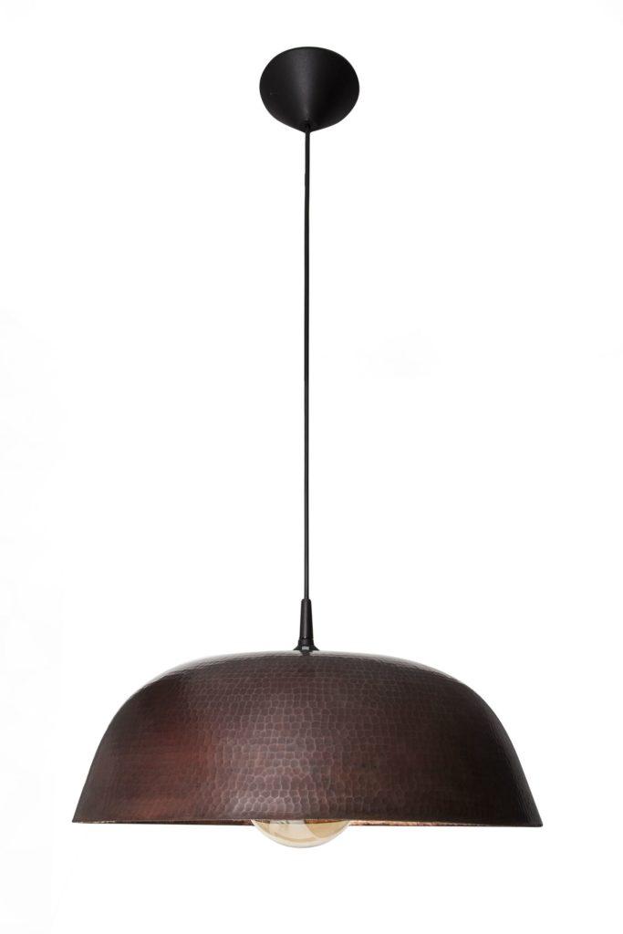 Miedziana Lampa - sufitowa lampa wisząca z ręcznie kutej miedzi 06
