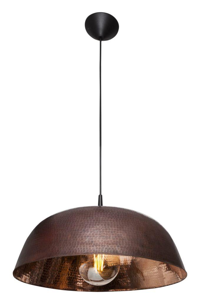 Miedziana Lampa - sufitowa lampa wisząca z ręcznie kutej miedzi 07