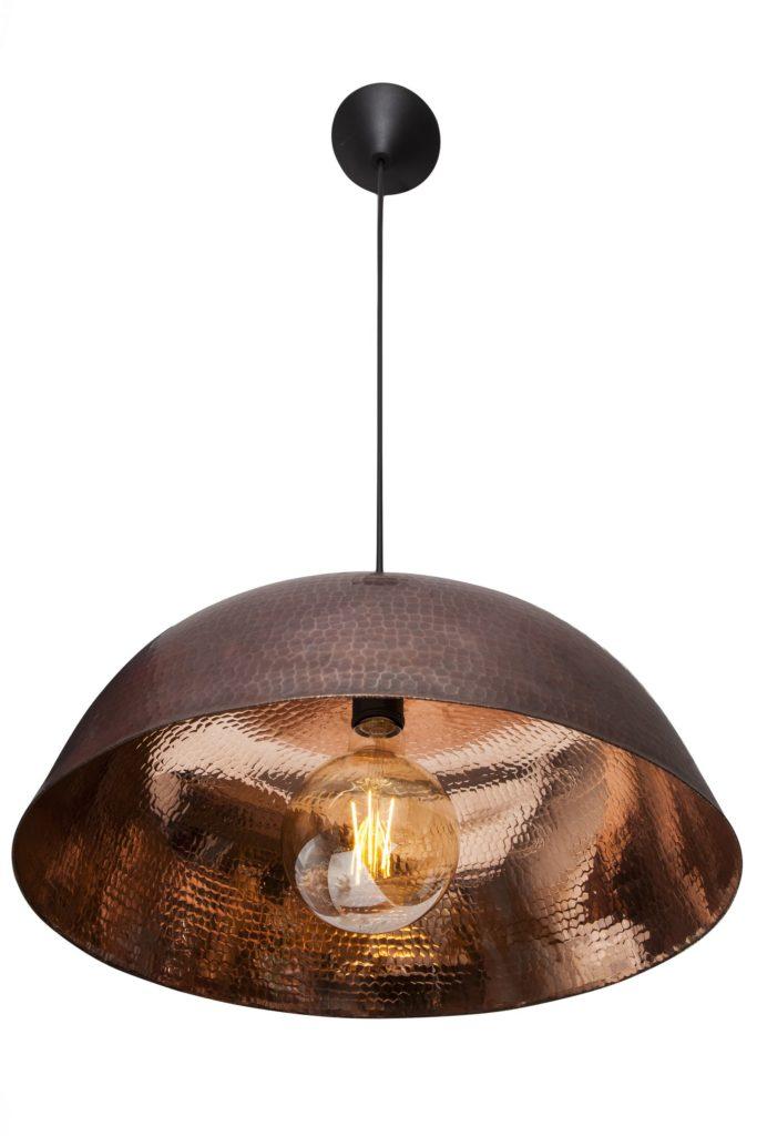 Miedziana Lampa - sufitowa lampa wisząca z ręcznie kutej miedzi 08
