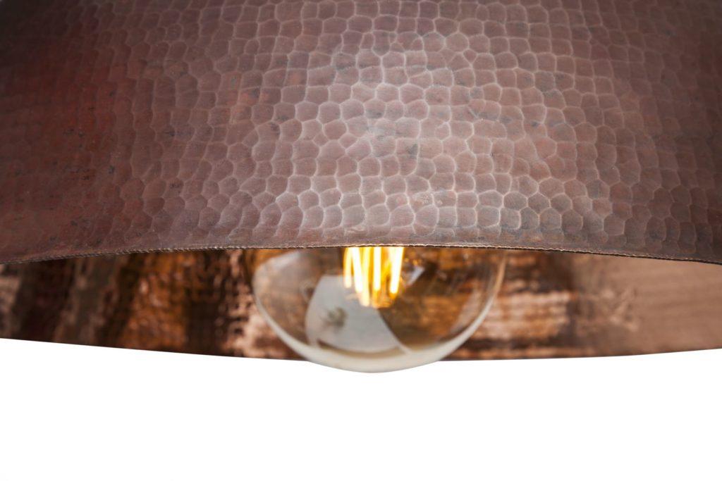 Miedziana Lampa - sufitowa lampa wisząca z ręcznie kutej miedzi 09