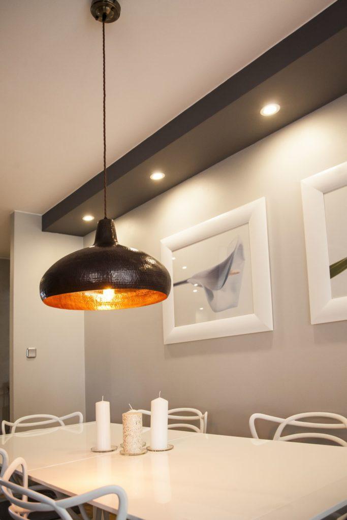 Miedziana Lampa wiszaca - sufitowa lampa z ręcznie kutej miedzi 03