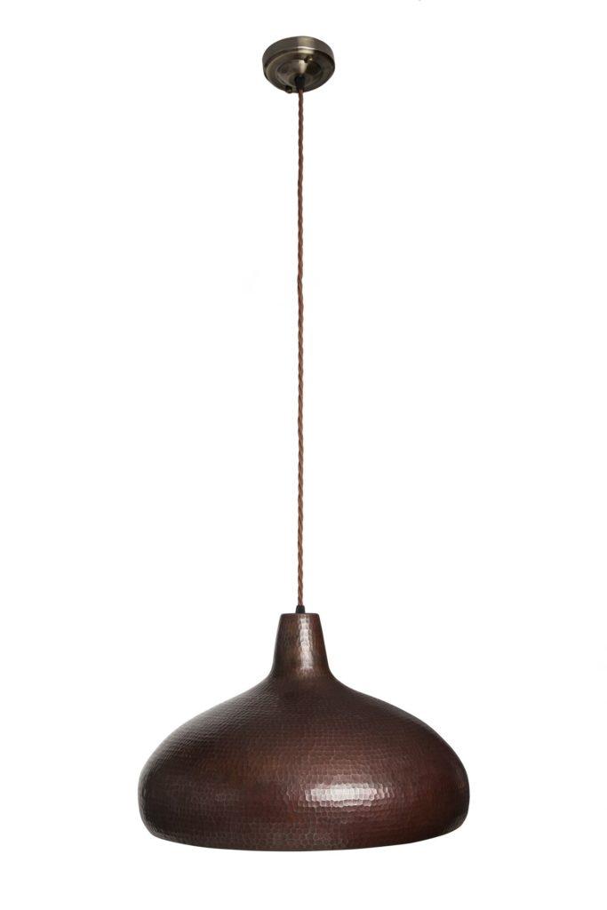 Miedziana Lampa wiszaca - sufitowa lampa z ręcznie kutej miedzi 04