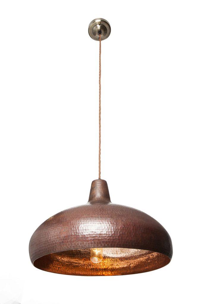 Miedziana Lampa wiszaca - sufitowa lampa z ręcznie kutej miedzi 06