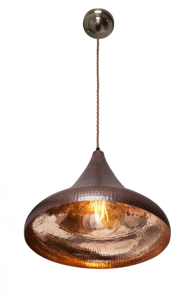 Lampa miedziana wiszaca - sufitowa lampa z ręcznie kutej miedzi 06