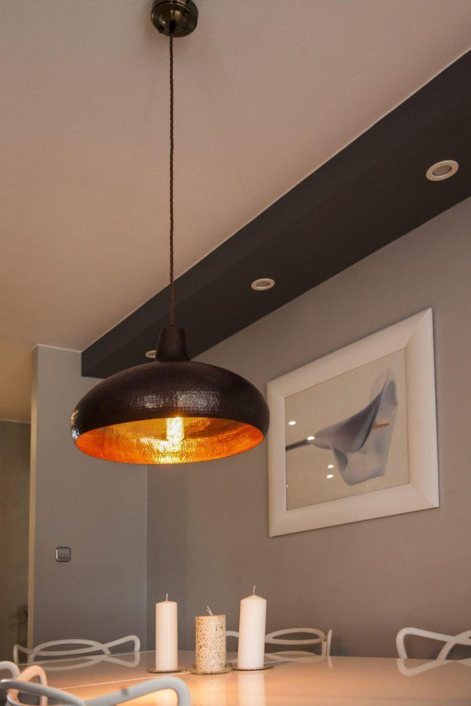 Miedziana Lampa wiszaca - sufitowa lampa z ręcznie kutej miedzi 01