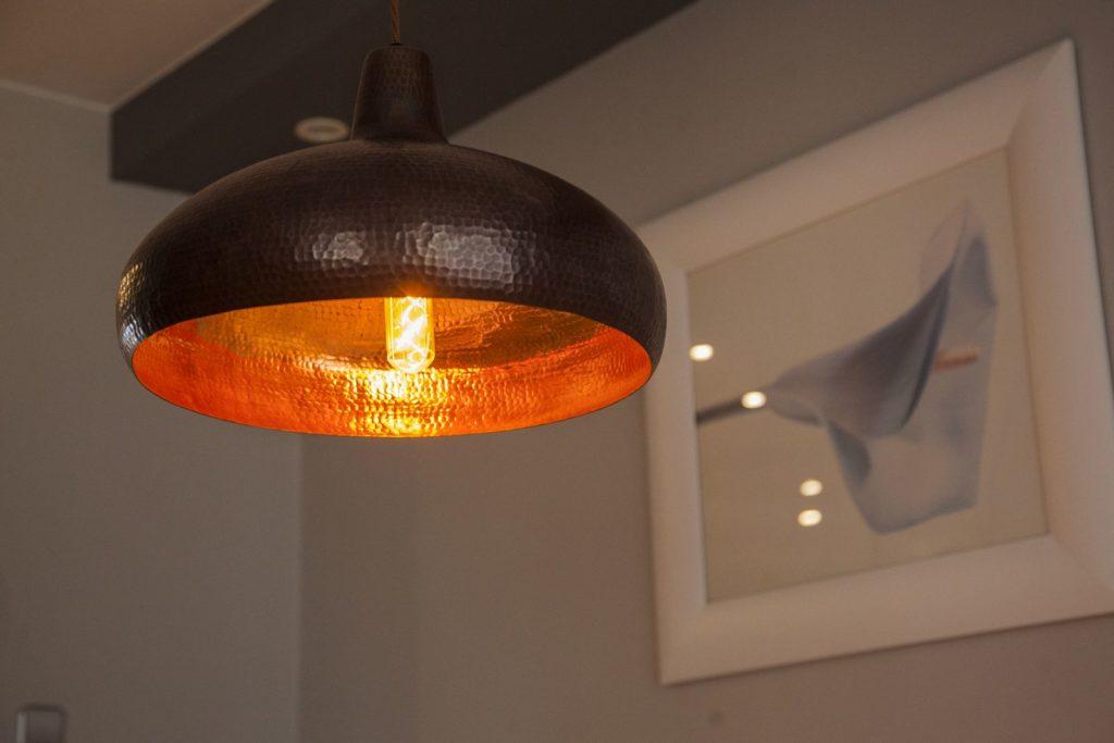 Miedziana Lampa wiszaca - sufitowa lampa z ręcznie kutej miedzi 02