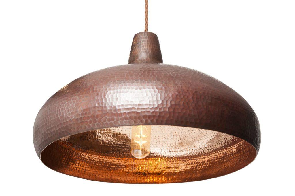 Miedziana Lampa wiszaca - sufitowa lampa z ręcznie kutej miedzi 05